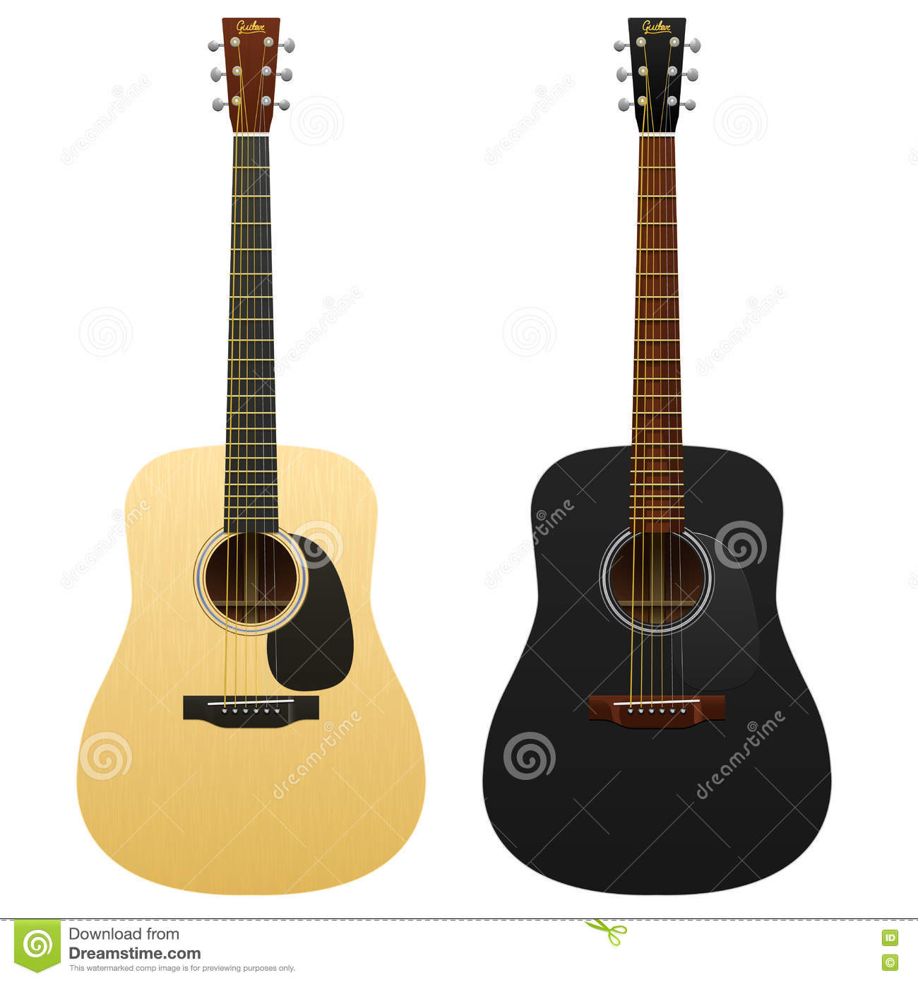 Realistic acoustic guitars isolated two western classical musical instruments guitar, classic