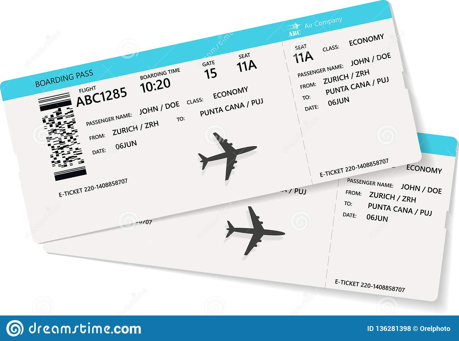 Realistic Airline Ticket Or Boarding Pass Design Stock Vector -  Illustration of plane, coupon: 136281398