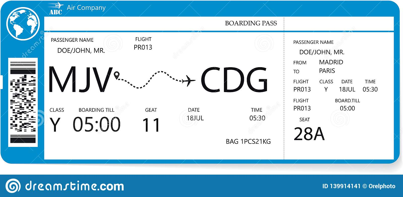 Realistic Airline Ticket Design Stock Vector Illustration Of Airline Holiday 139914141
