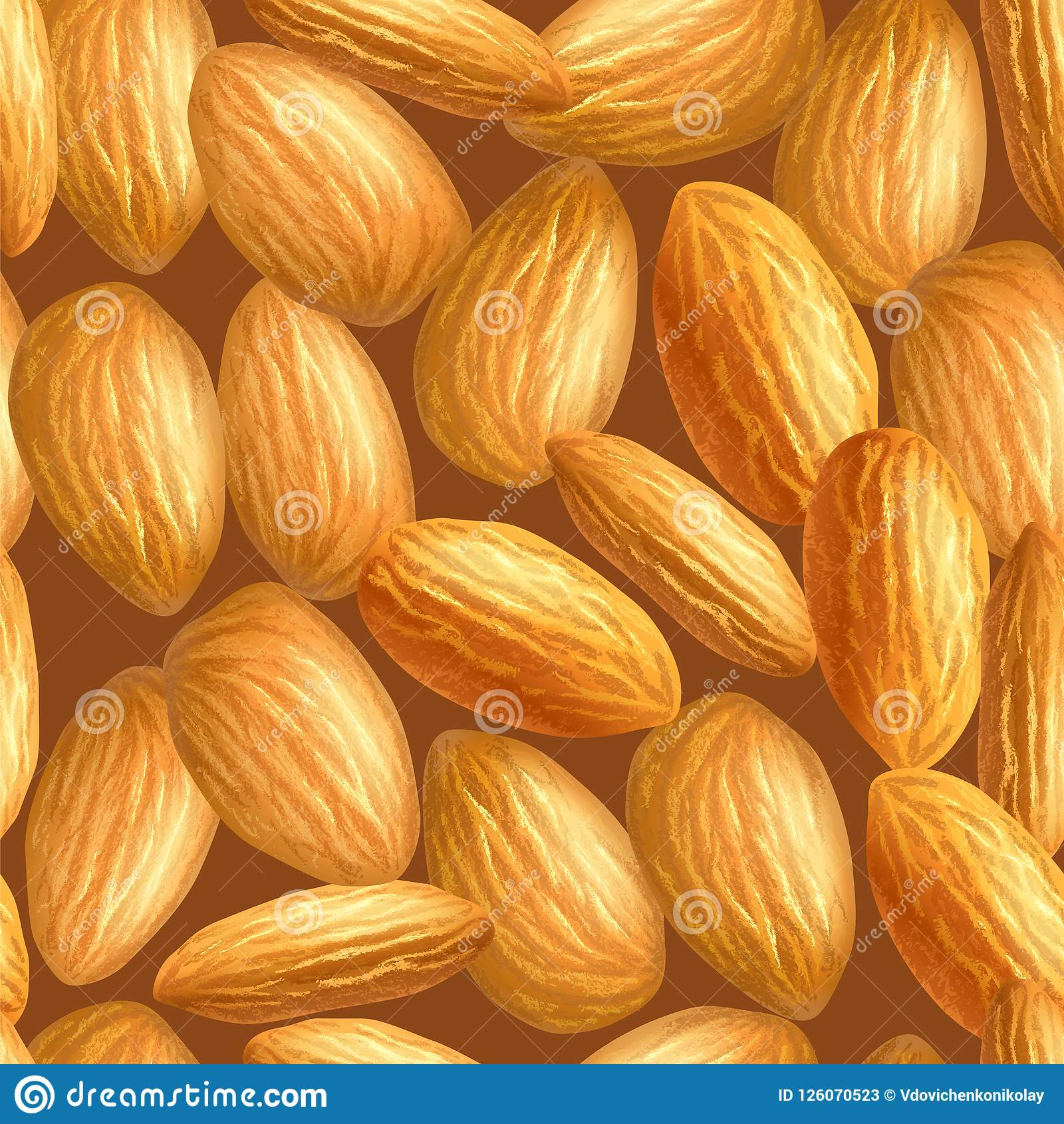 realistic almonds texture. seamless pattern. template for background