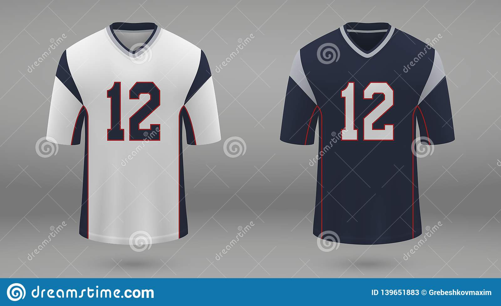 e48ae0c9ede Realistic american football jersey New England Patriots, shirt template for  kit. Vector illustration. More similar stock illustrations