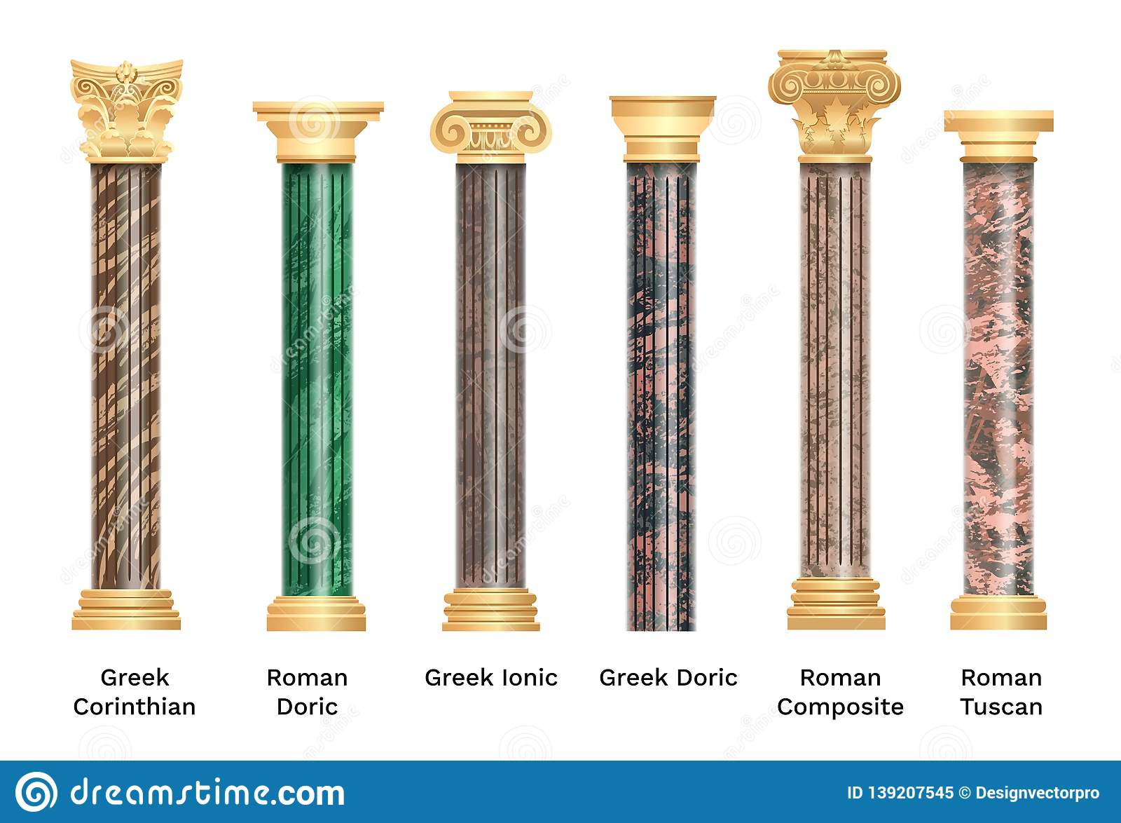 Realistic ancient pillars set isolated on white background. Different architecture pillars with stone effect. Classical columns