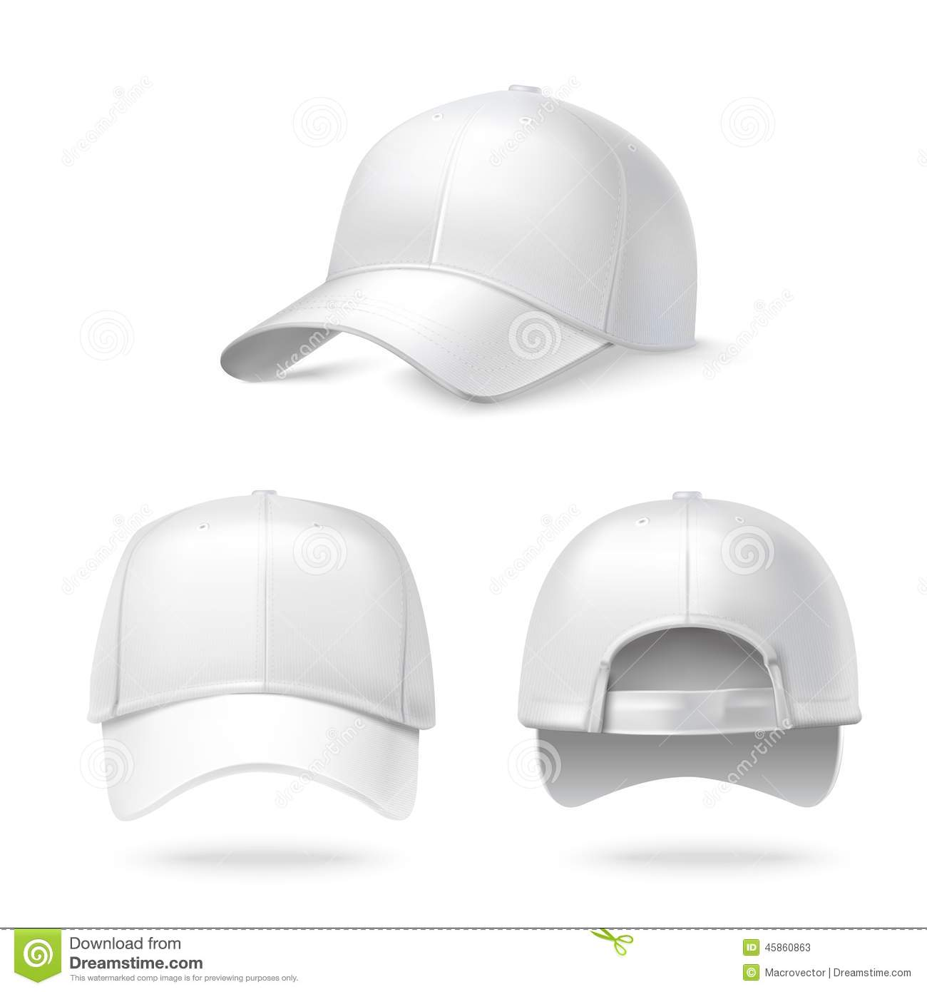 Vector men s polo shirt design template front view polo shirt with - Realistic Baseball Cap Stock Vector Image 45860863