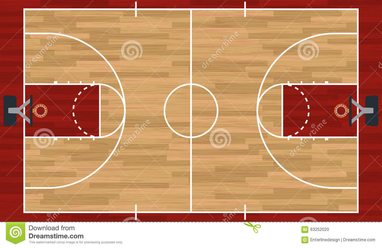 Realistic basketball court illustration stock vector for Basketball court plan