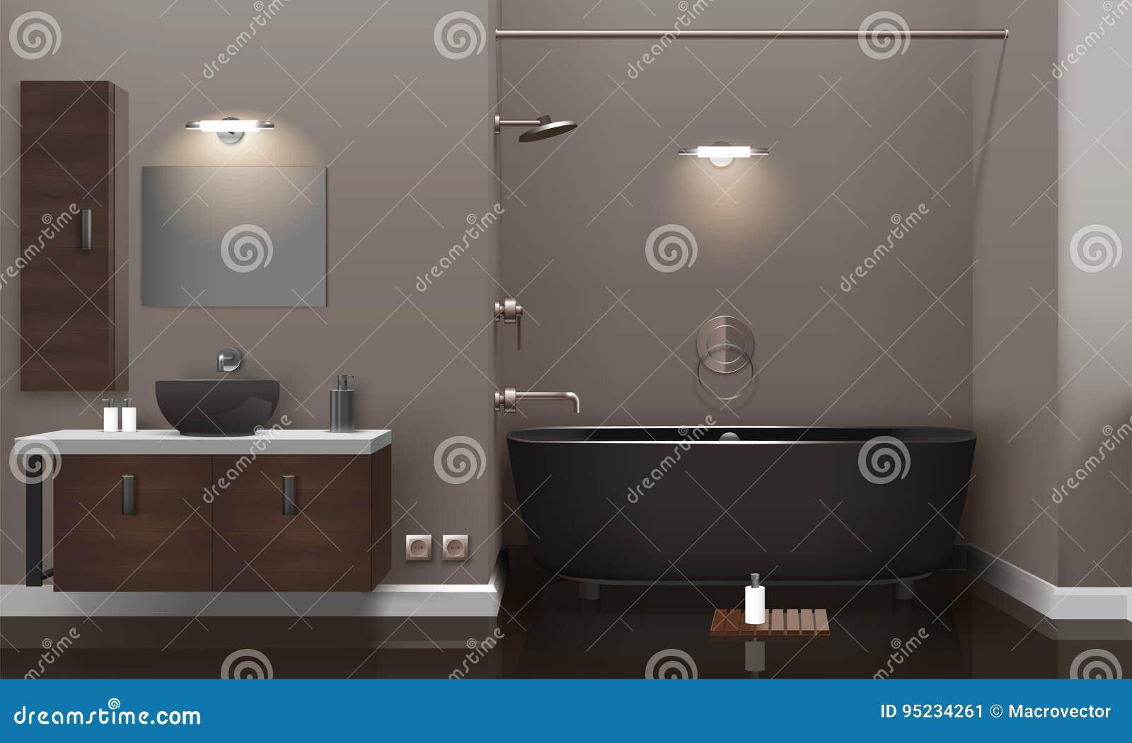 Realistic bathroom interior design stock vector illustration of