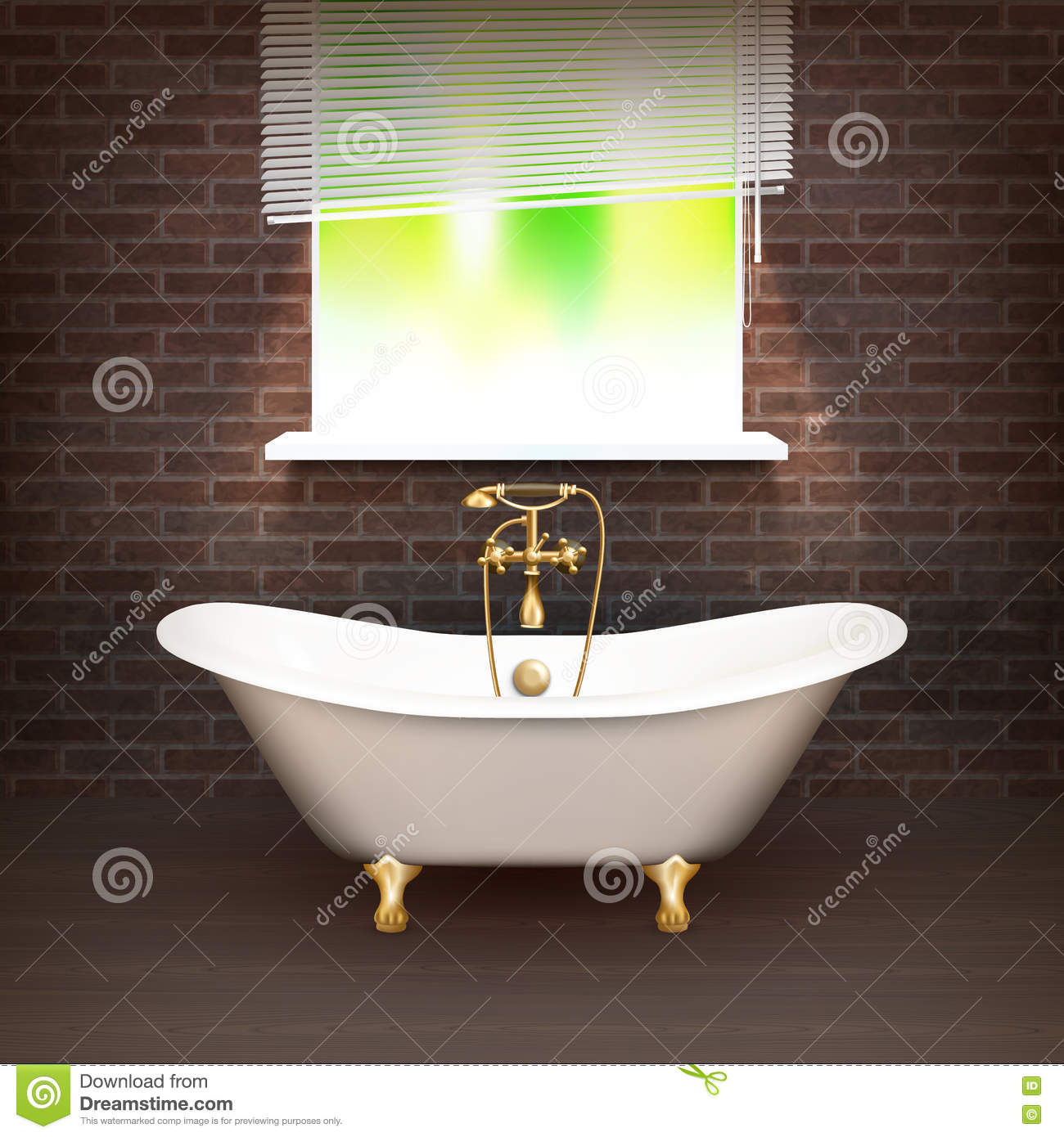 Realistic Bathroom Poster With Vintage Bathtub On Wooden Floor And A Brick Wall Across From The Window Vector Illustration