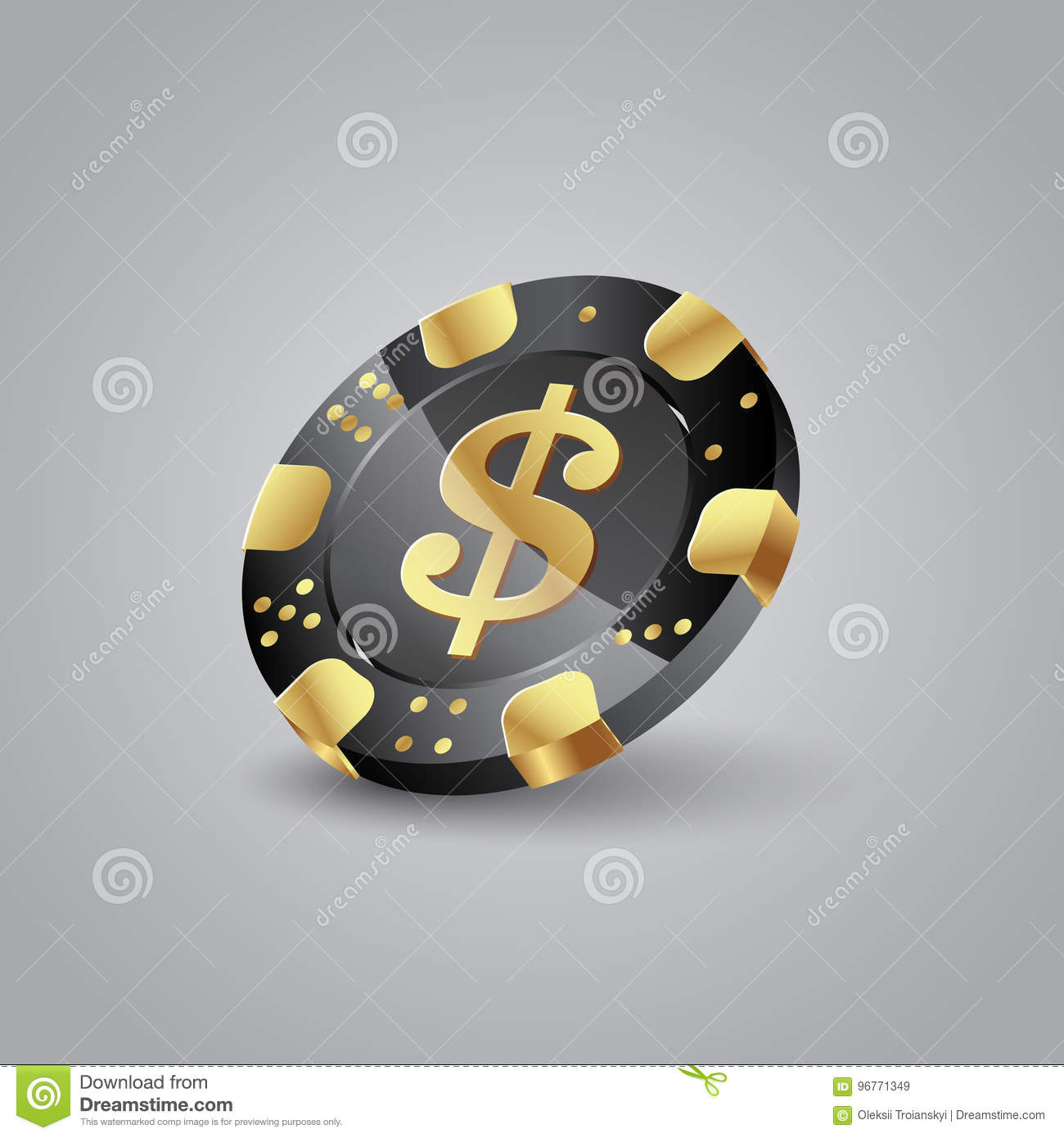 Realistic black and gold chip. Poker chip with a dollar symbol.