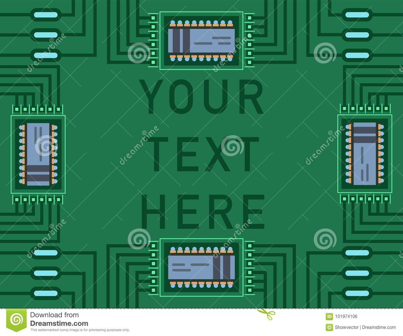Computer Ic Chip Template Microchip On Detailed Printed Circuit Electronic Board Design Abstract Background Vector Illustration