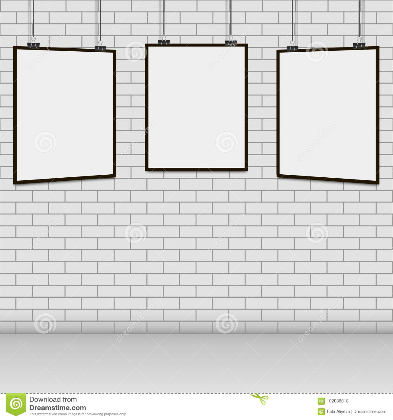 Realistic Blank Frame Hanging On Brick Wall Stock Illustration ...