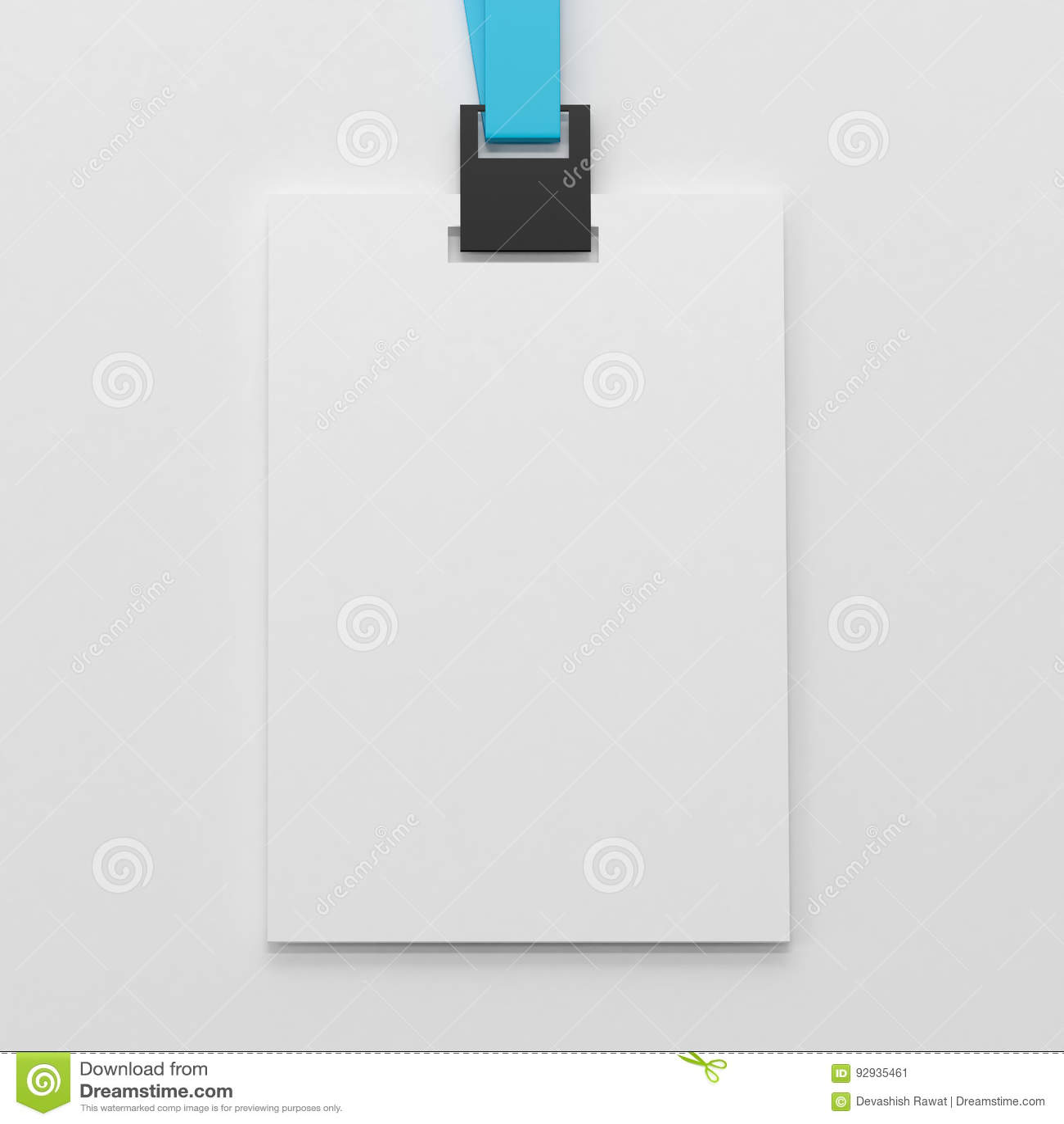 realistic blank identity card vertical badge biometric card stock