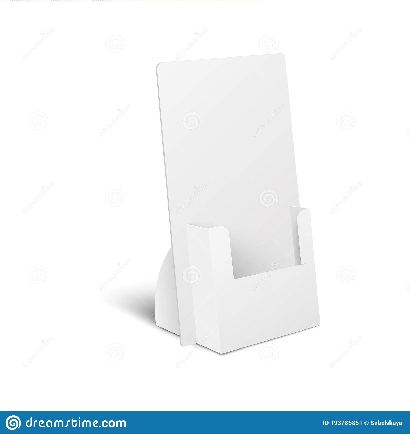 Realistic Blank Mockup of White Cardboard Stand Display for Flyers ...