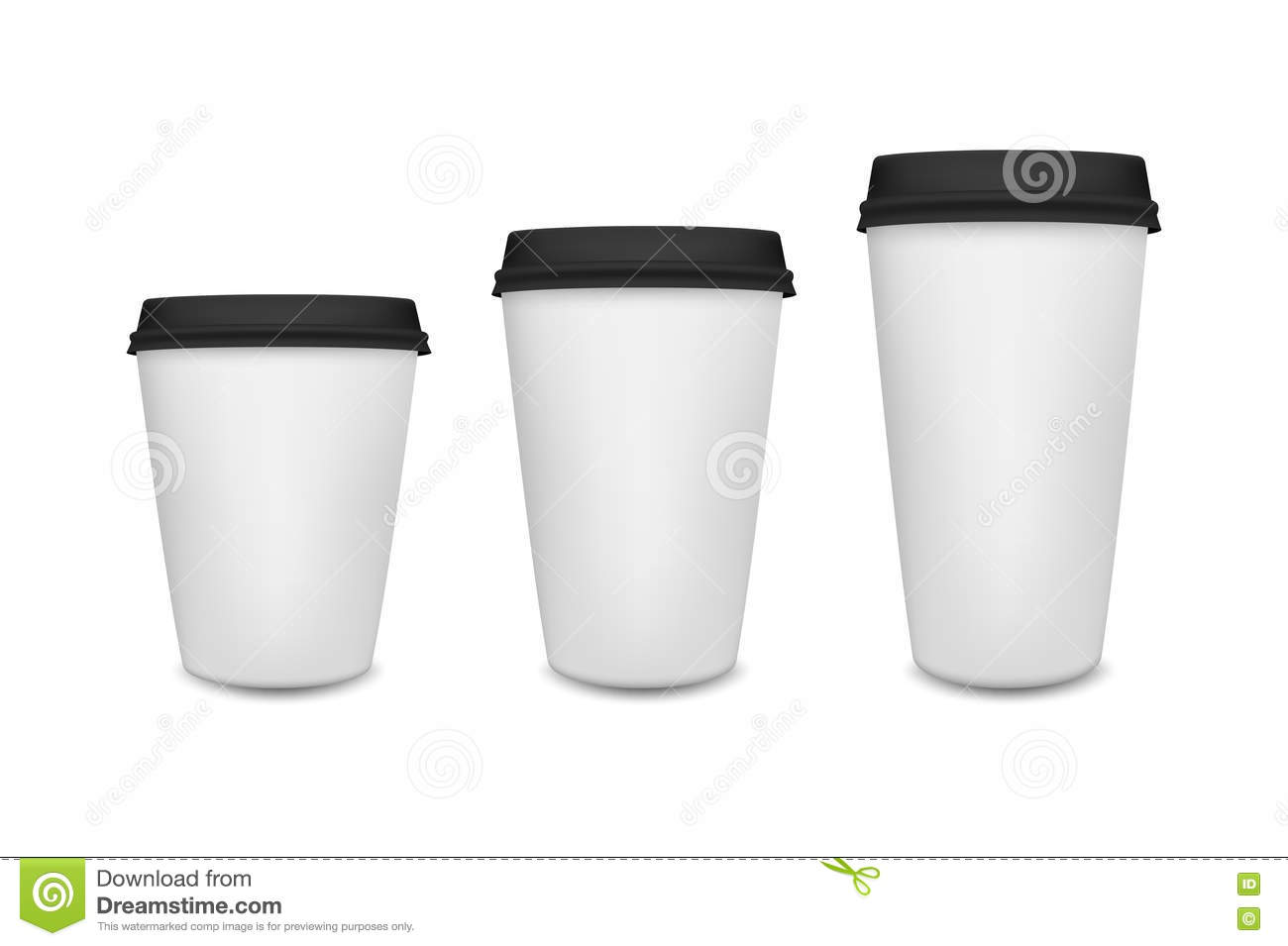 realistic blank paper coffee cup set on white background vector