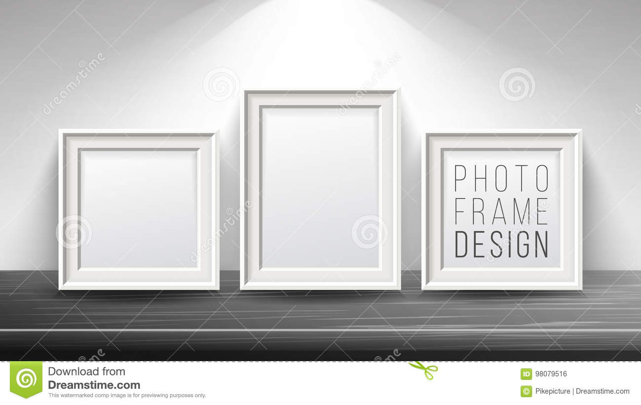 Realistic Blank Picture Frame Vector. Light Wood And Dark Wood ...