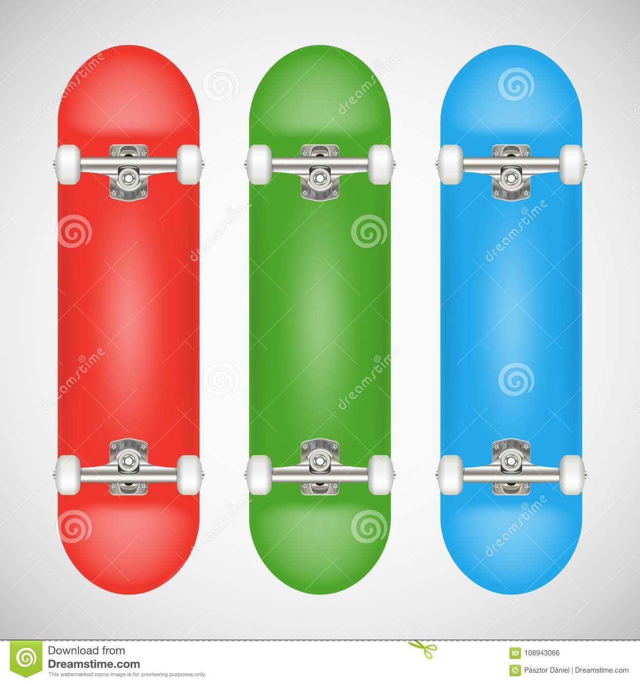 realistic blank skateboard template red green blue stock vector