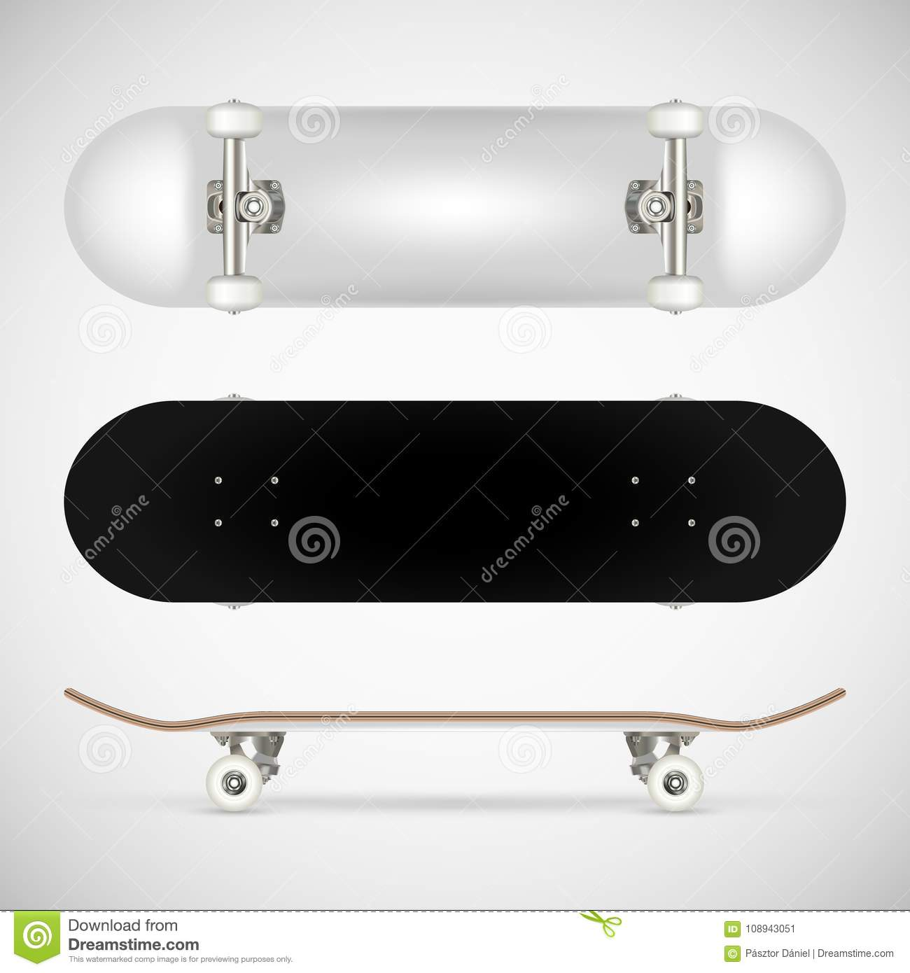 realistic blank skateboard template white stock vector