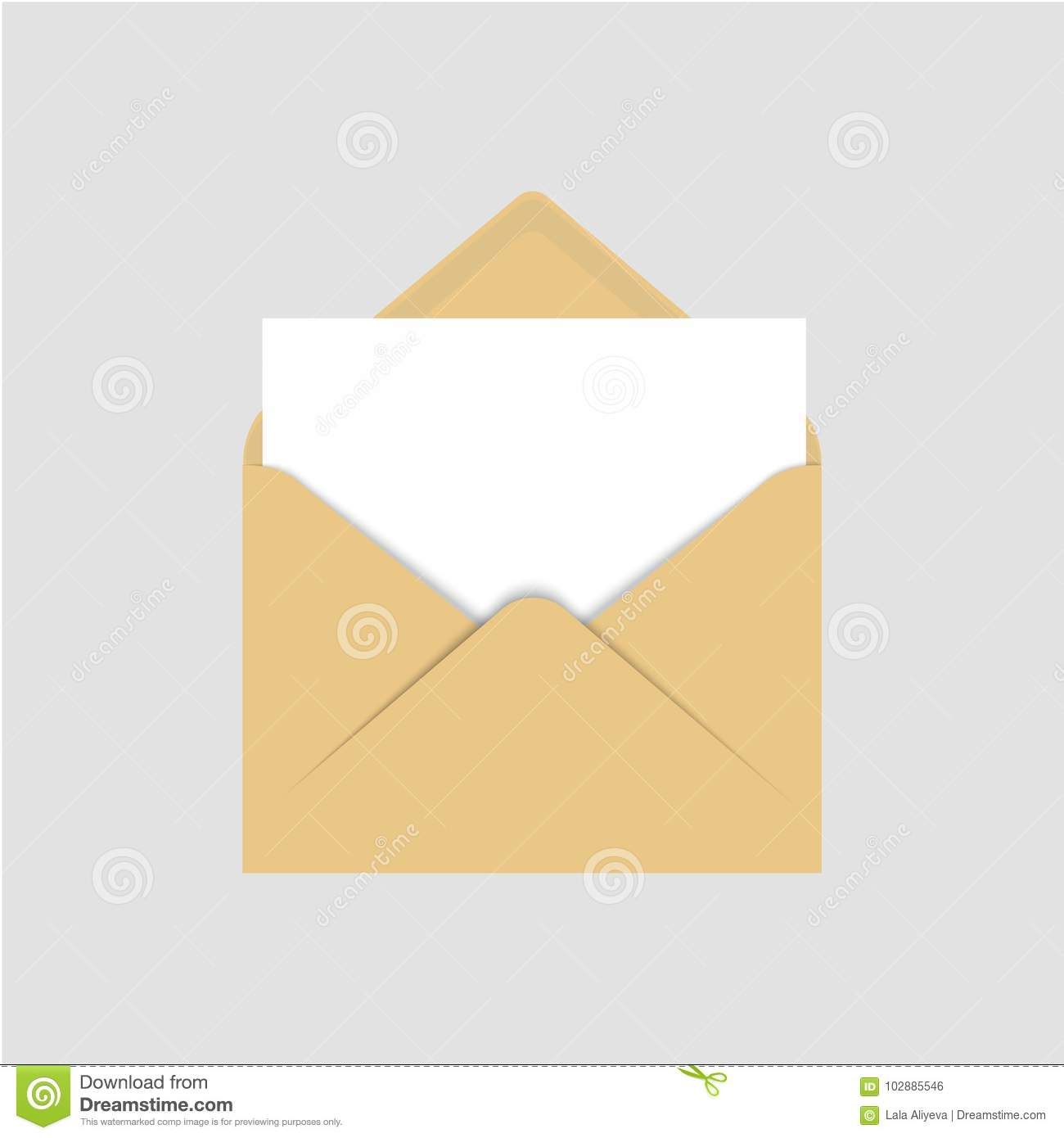 Realistic Blank Template Of Brown Paper Envelope With Empty White