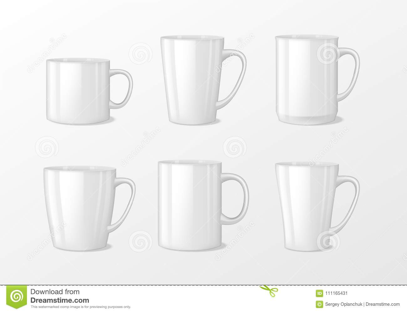 Realistic Blank White Coffee Mug Cups With Handle. Cup Porcelain For ...