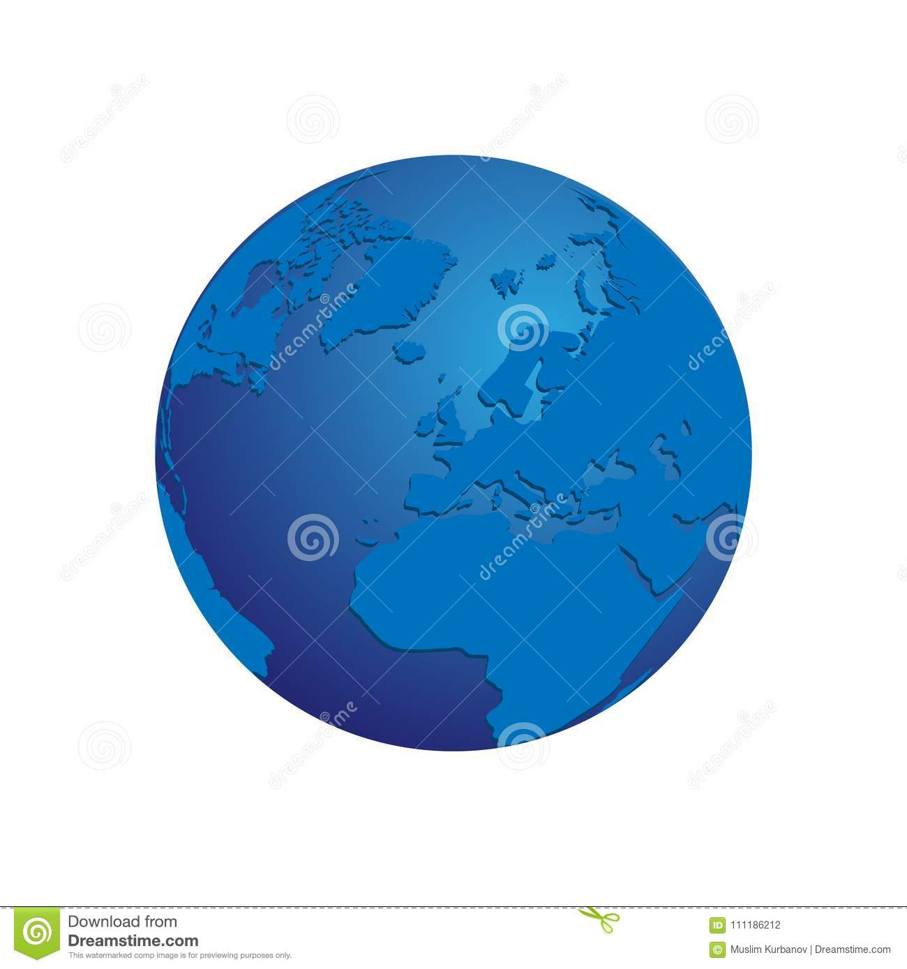 Realistic Blue 3d World Map Globe Isolated Background Vector Eps 10
