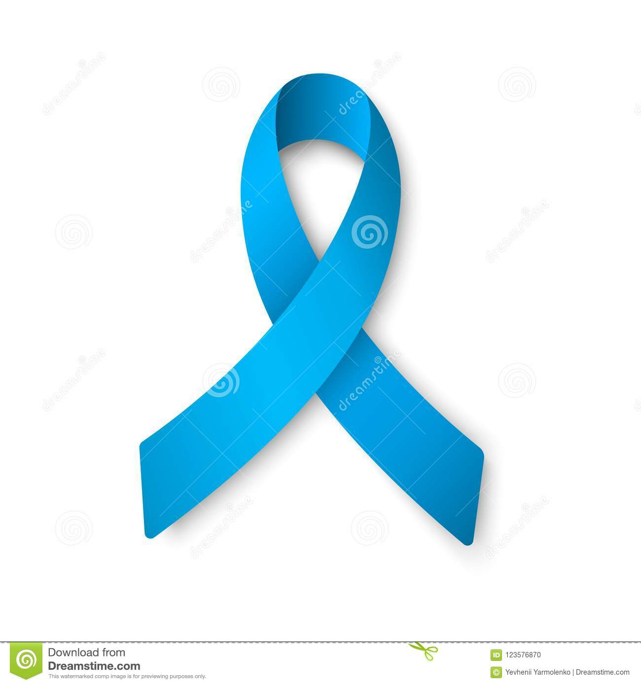 Realistic blue ribbon. World Prostate Cancer Day concept. Men healthcare concept.