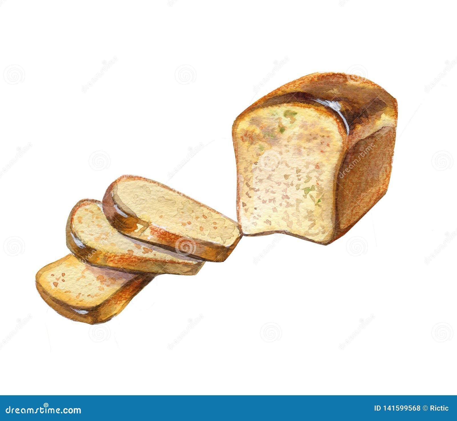 Realistic Bread Watercolor Illustration Stock Illustration Illustration Of Breakfast Snack 141599568