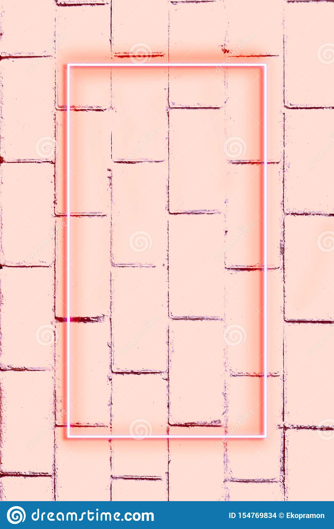 Realistic Brick wall, background, neon light, free space for text