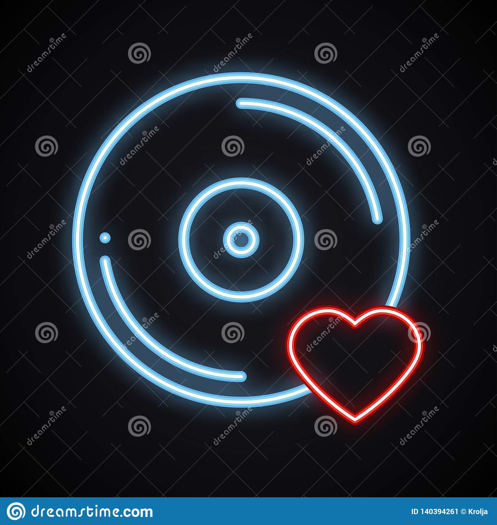 Realistic bright neon vinyl sign. Glowing music symbol. Favorite song. Club, record, disco, dance, nightlife, DJ, party