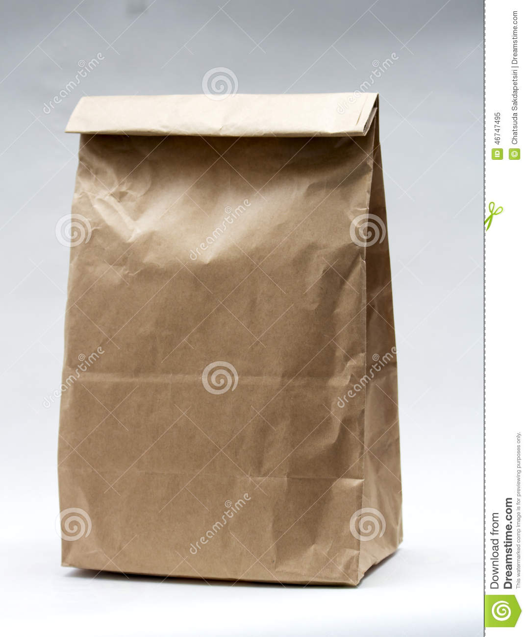 realistic brown paper bag on white background stock image