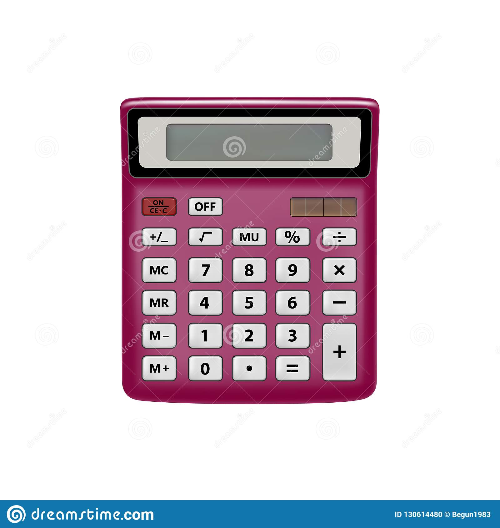 Realistic Calculator Isolated On White Background The Calculator Is