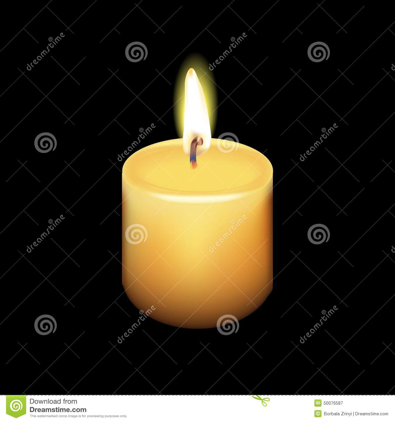 Realistic Candle Vector With Black Background Stock Vector ...