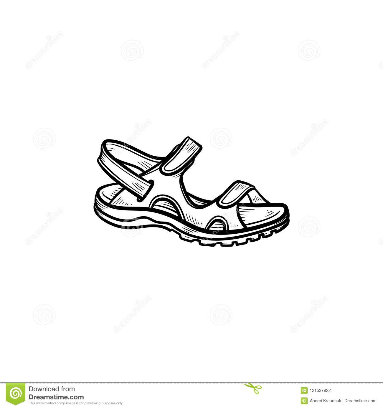 2464896810383 Realistic Child Sandal Drawn Outline Doodle Icon. Stock Vector ...