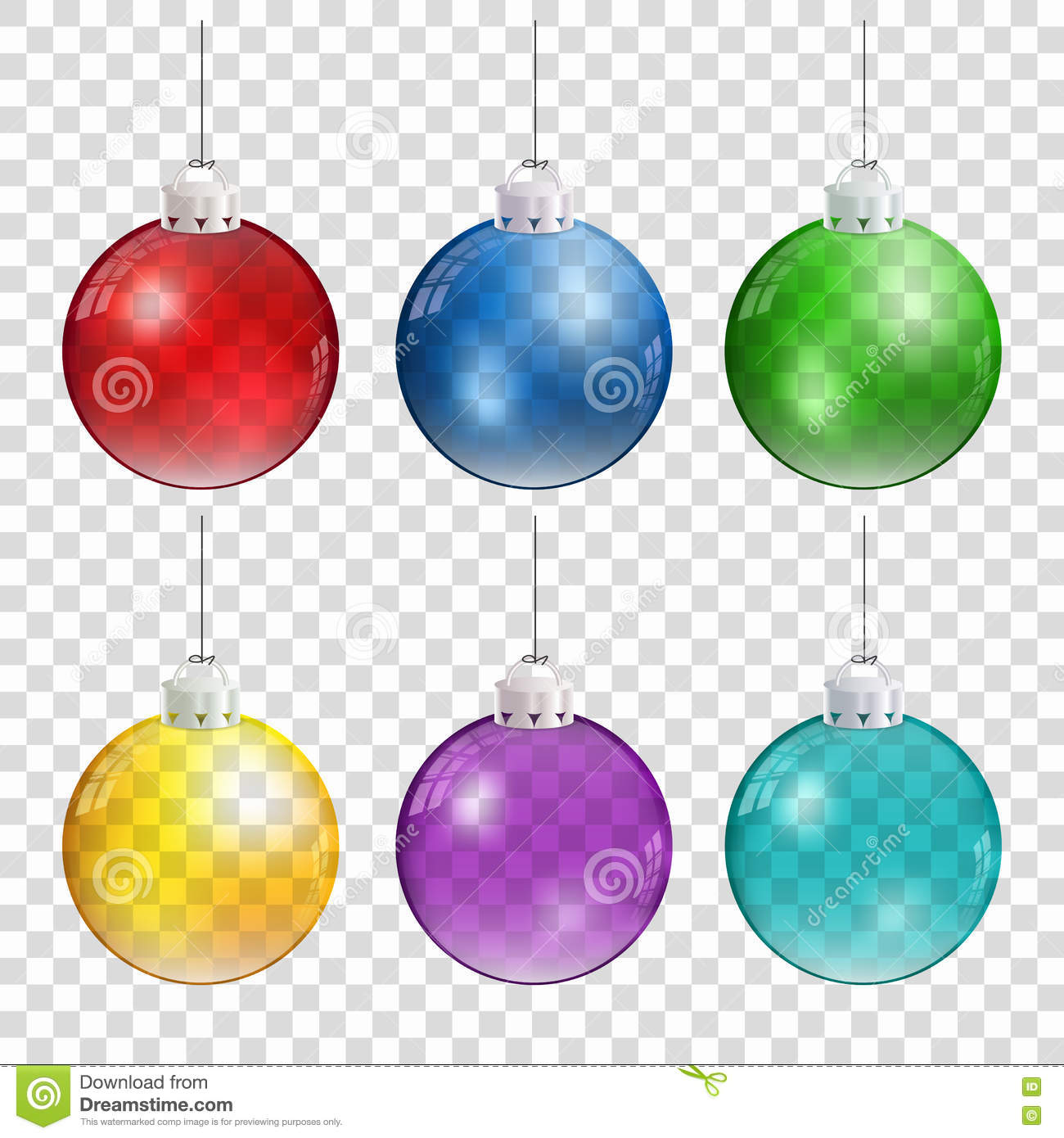Realistic Christmas balls in different colors hanging on transparent background.