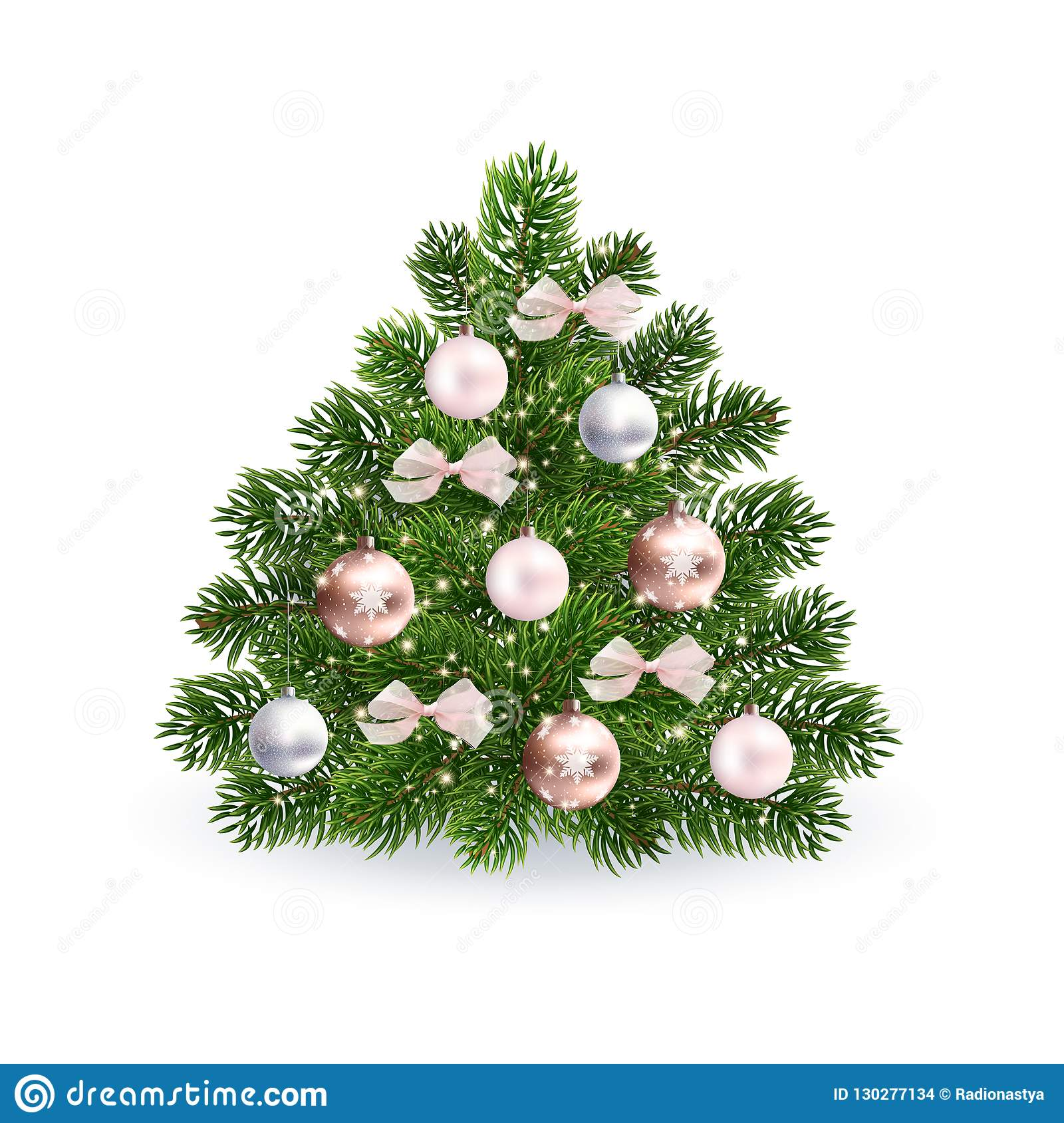 Realistic Christmas Green Tree With Rose Gold Toys Stock Vector