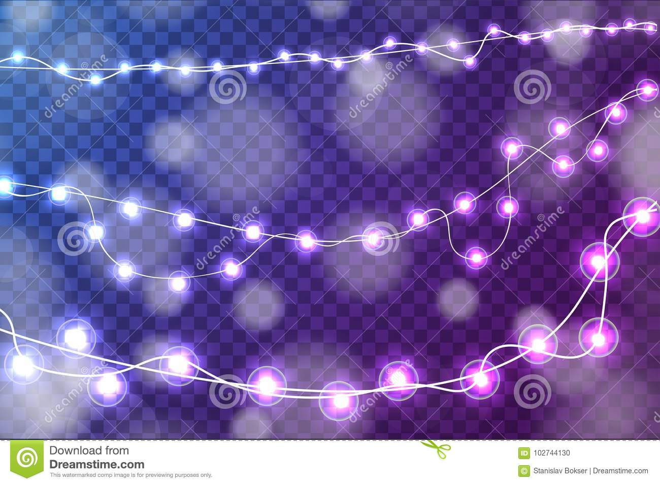 download realistic christmas lights decorations set isolated on transparent blue and purple background stock vector
