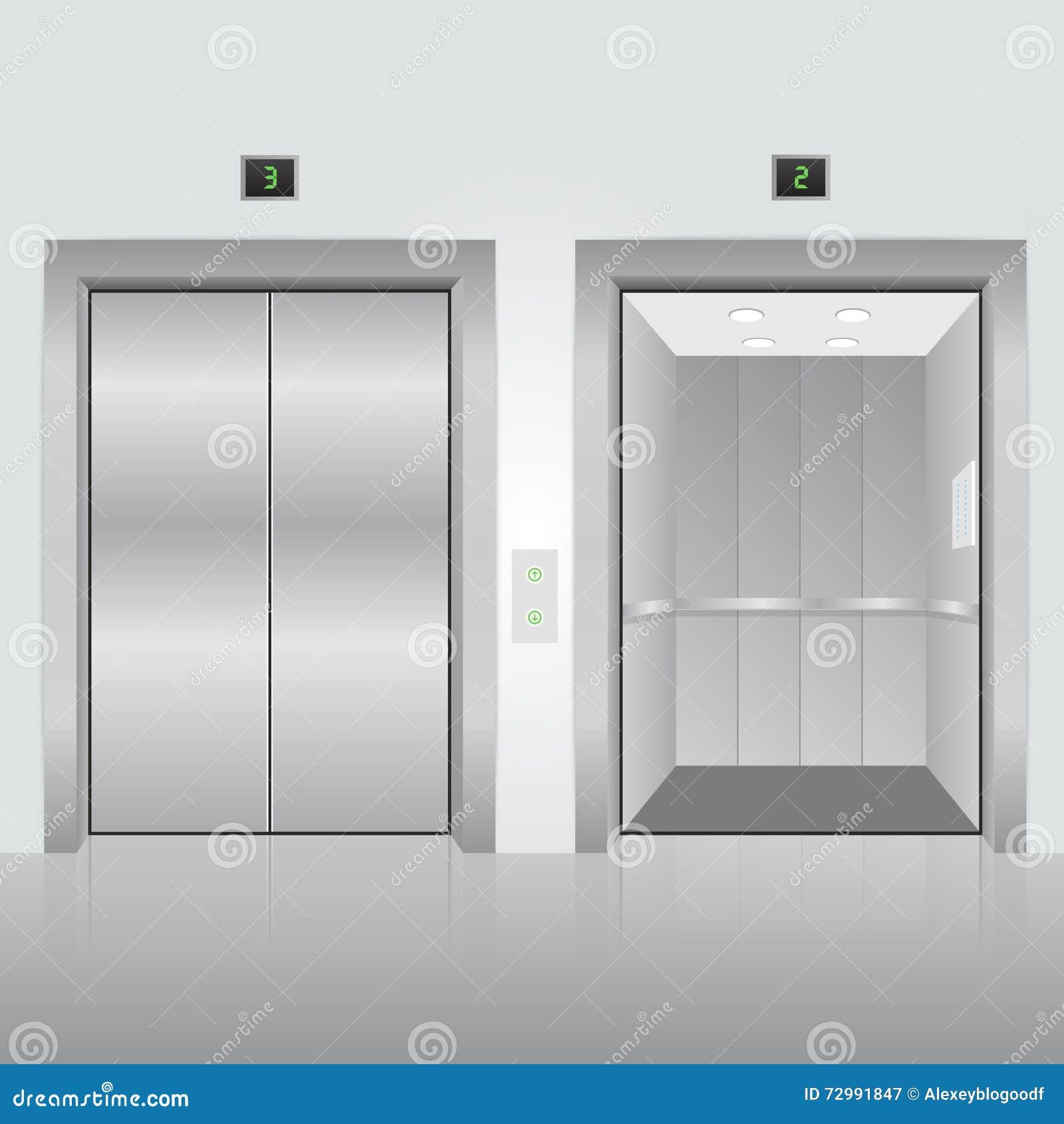 Closed elevator doors cartoon vector cartoondealer