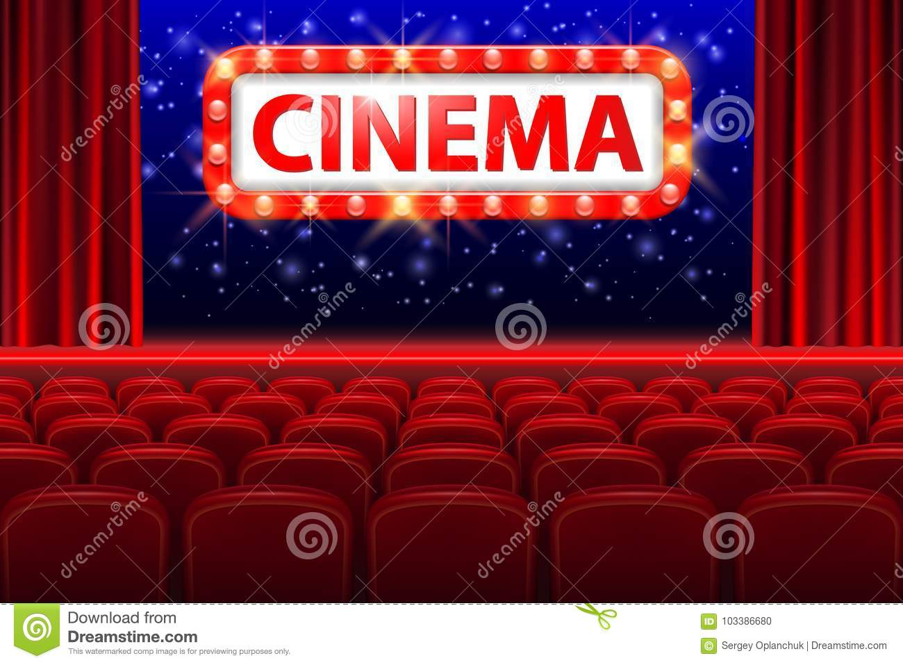 Download Realistic Cinema Hall Interior With Red Seats. Retro Style Cinema  Sign With Spot Light