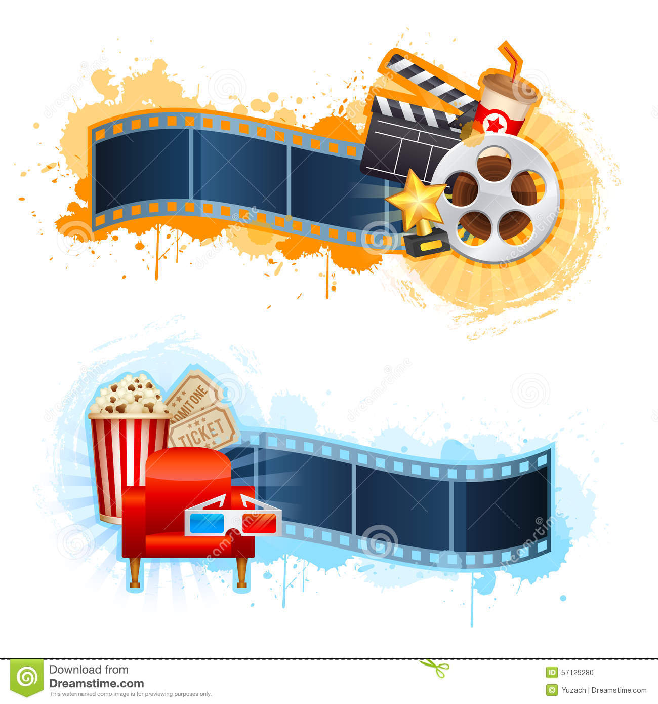 cinema movie banner poster design template film clapper