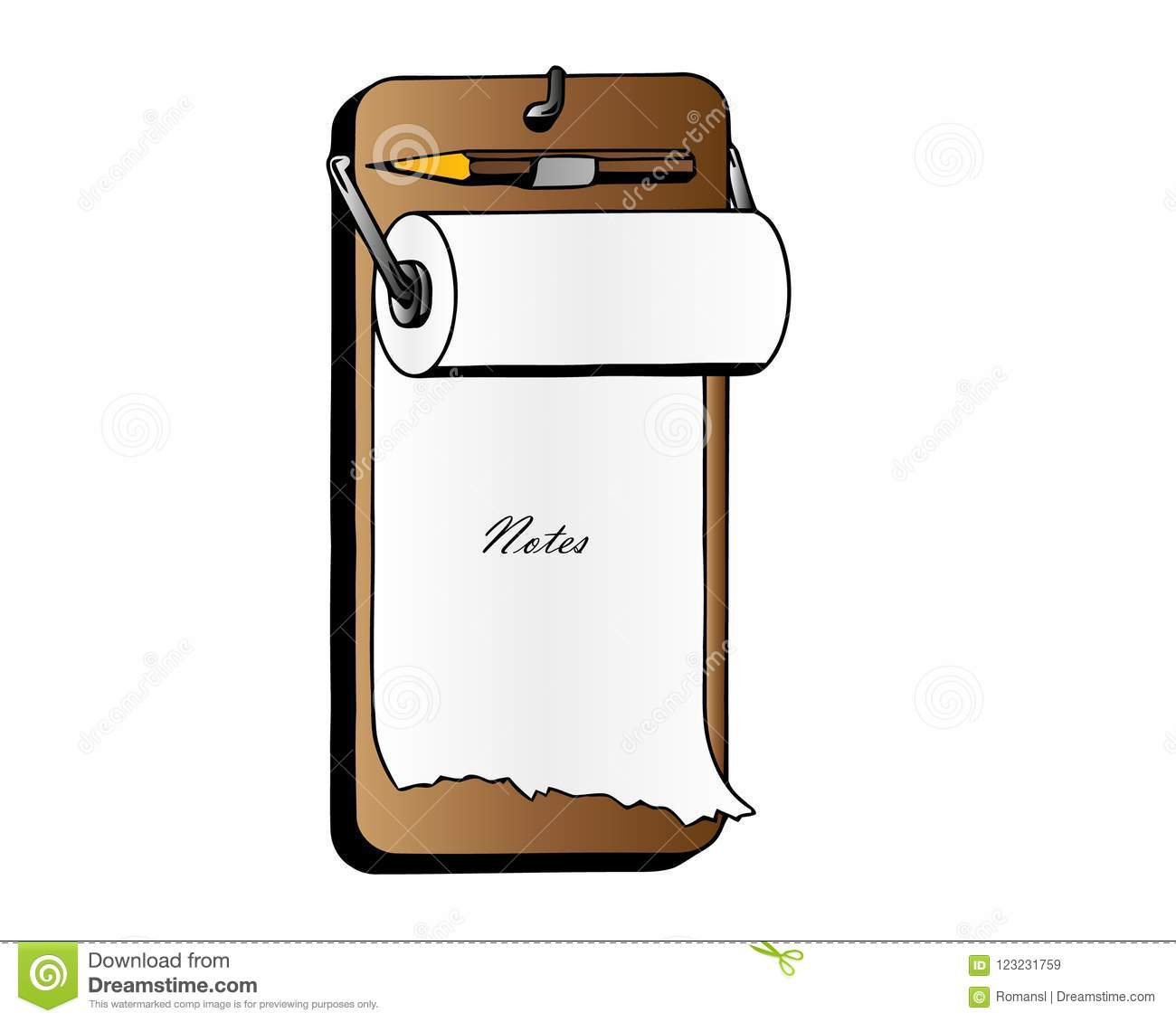 realistic clipboards with blank white paper sheet and pen vector