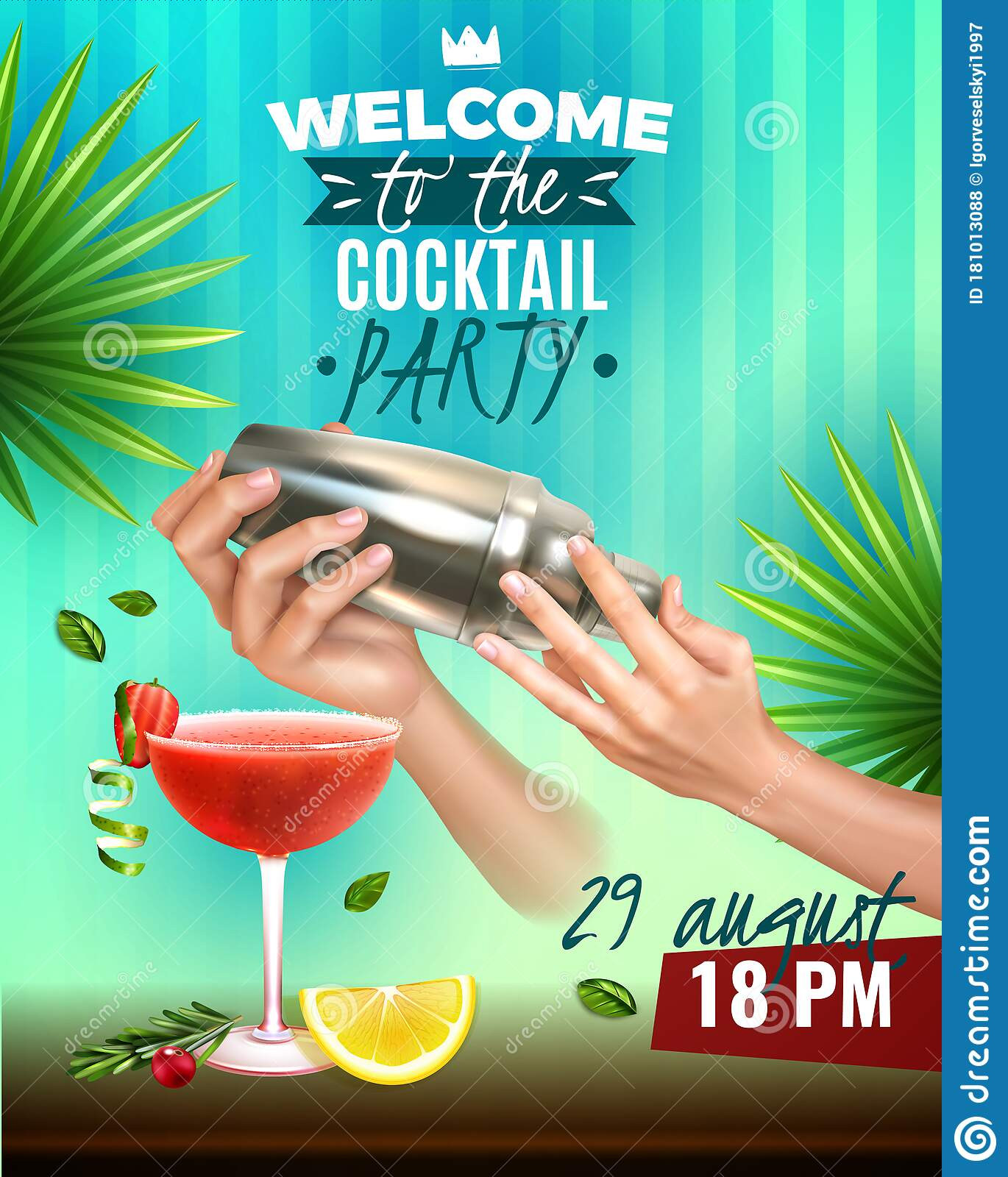 realistic cocktail party poster stock vector