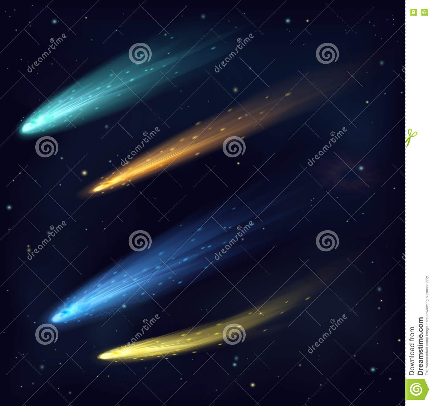 Realistic Color Vector Meteor Asteroid Comet In The Night Sky In ...