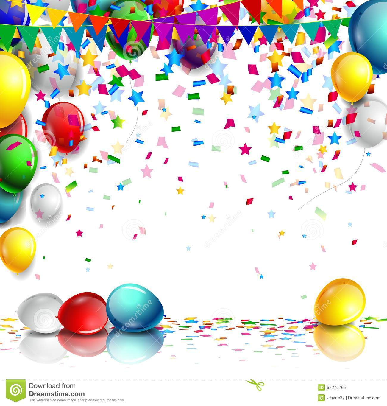 Realistic Colorful Birthday Background With Balloon Stock
