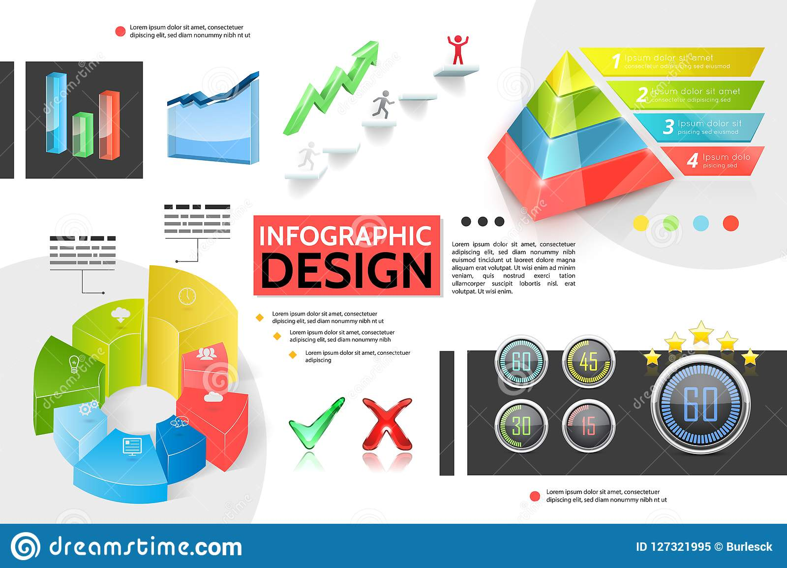 Realistic Colorful Infographic Concept Stock Vector - Illustration