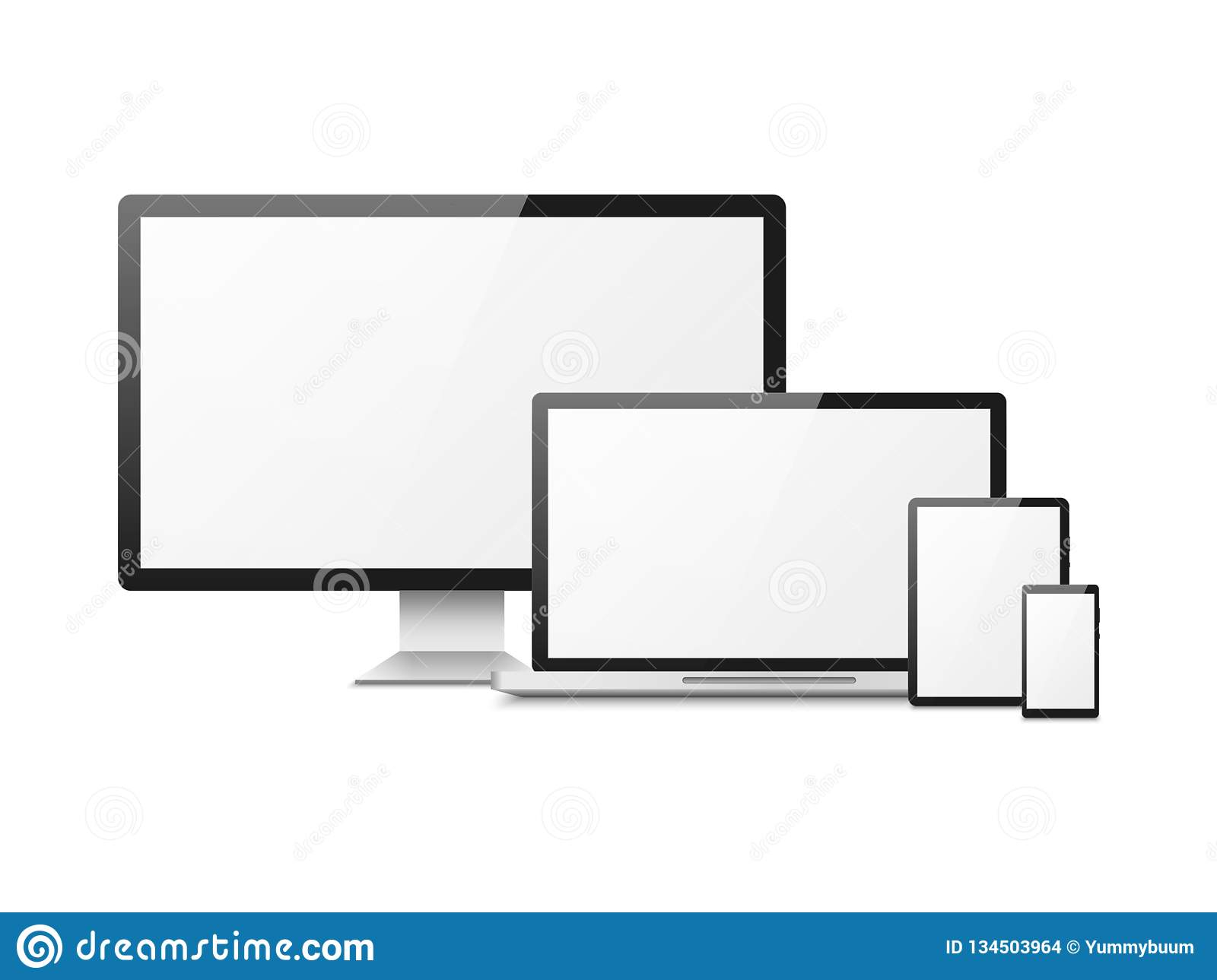 Realistic computer. Devices laptop tablet phone smartphone monitor, computer desktop screen, responsive web layout