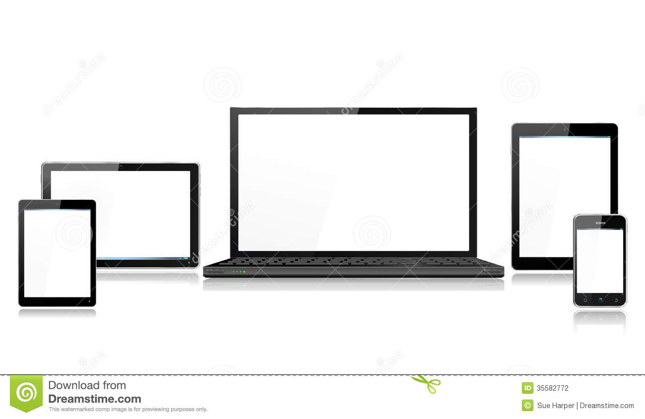 realistic computer mobile devices with laptop tabl stock