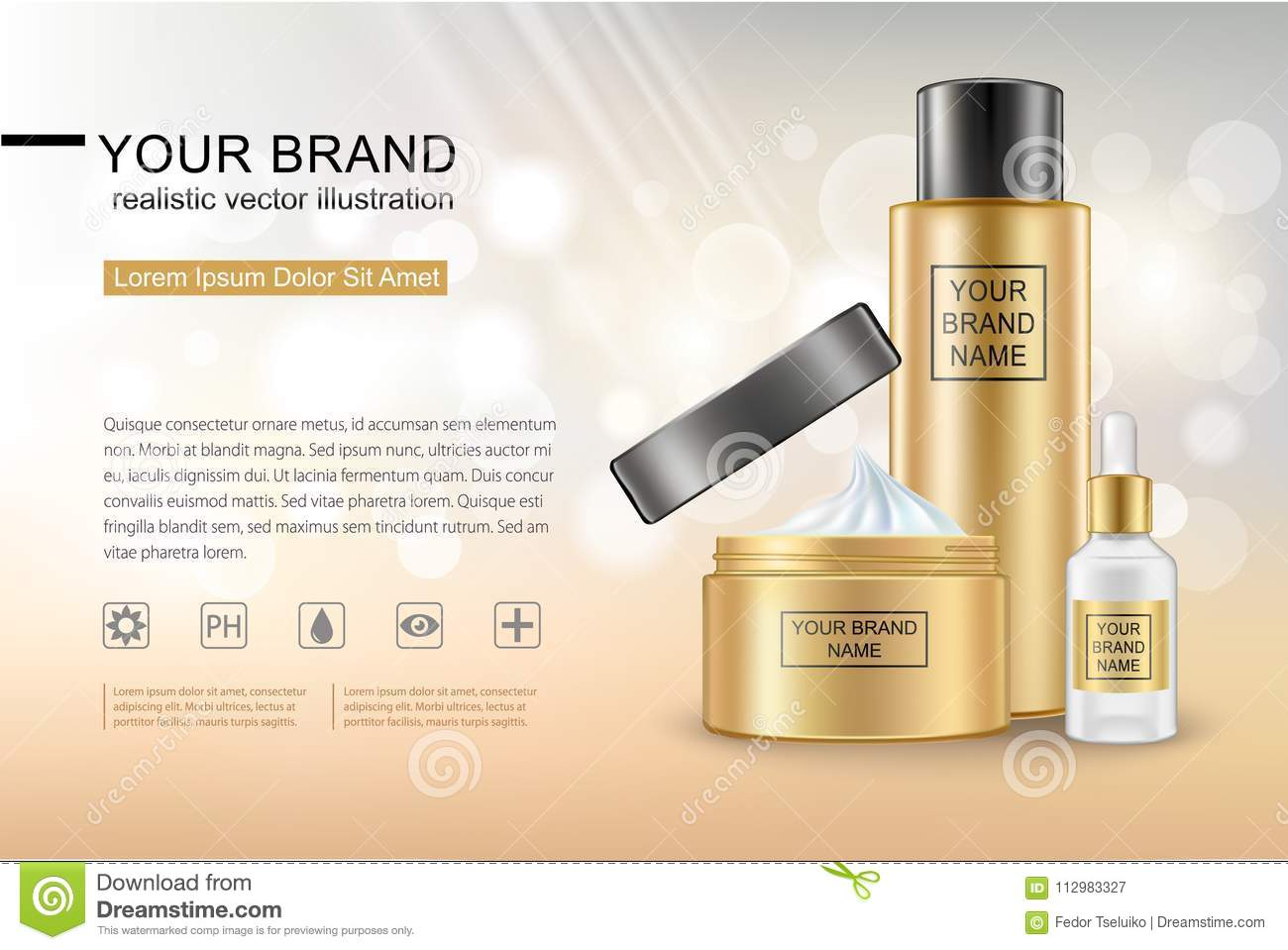 Realistic cosmetic container mockup. Shine and glow surface effect.