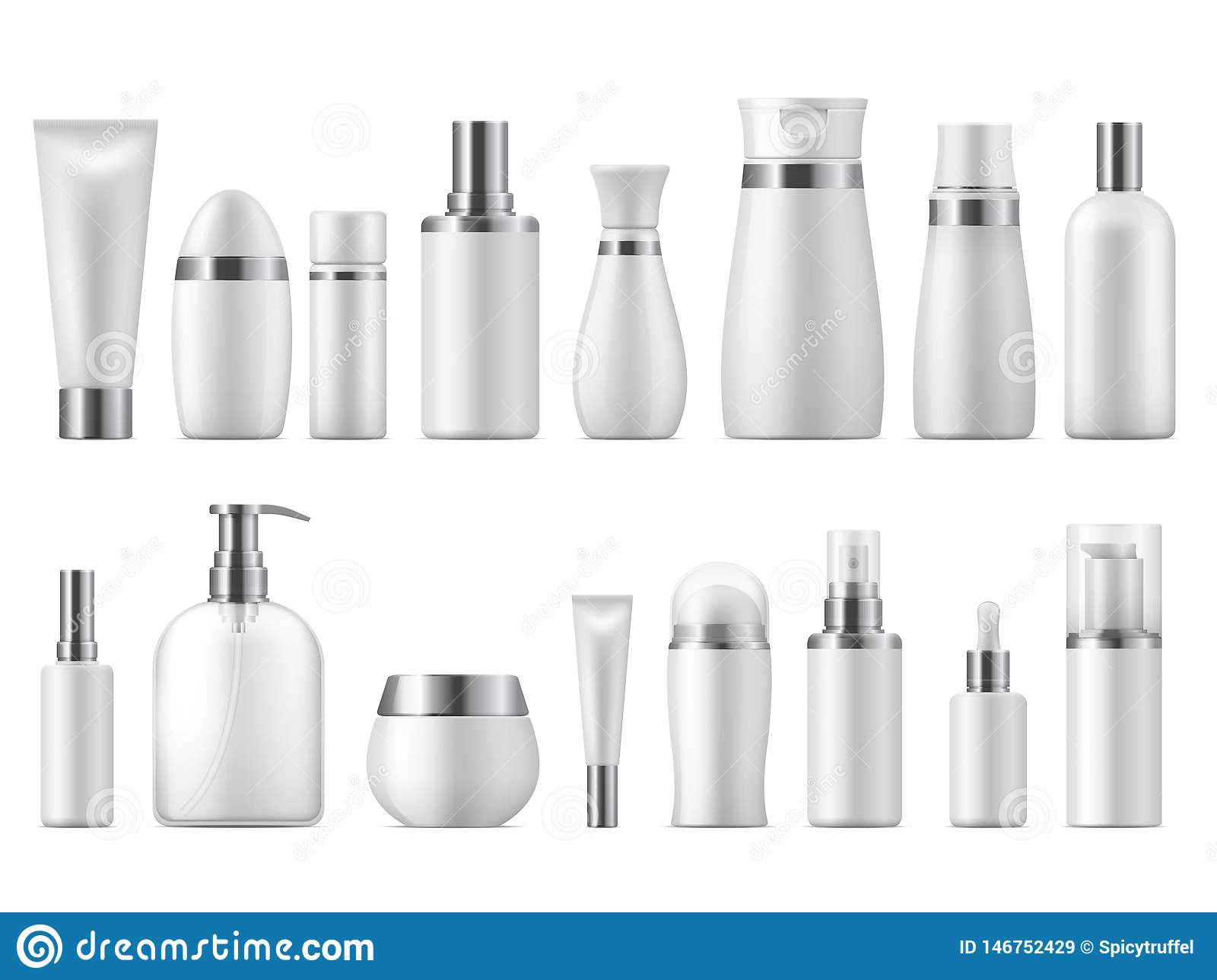 Realistic cosmetic package. Beauty cosmetic product empty white 3D pack spa cosmetics blank mockup. Vector design