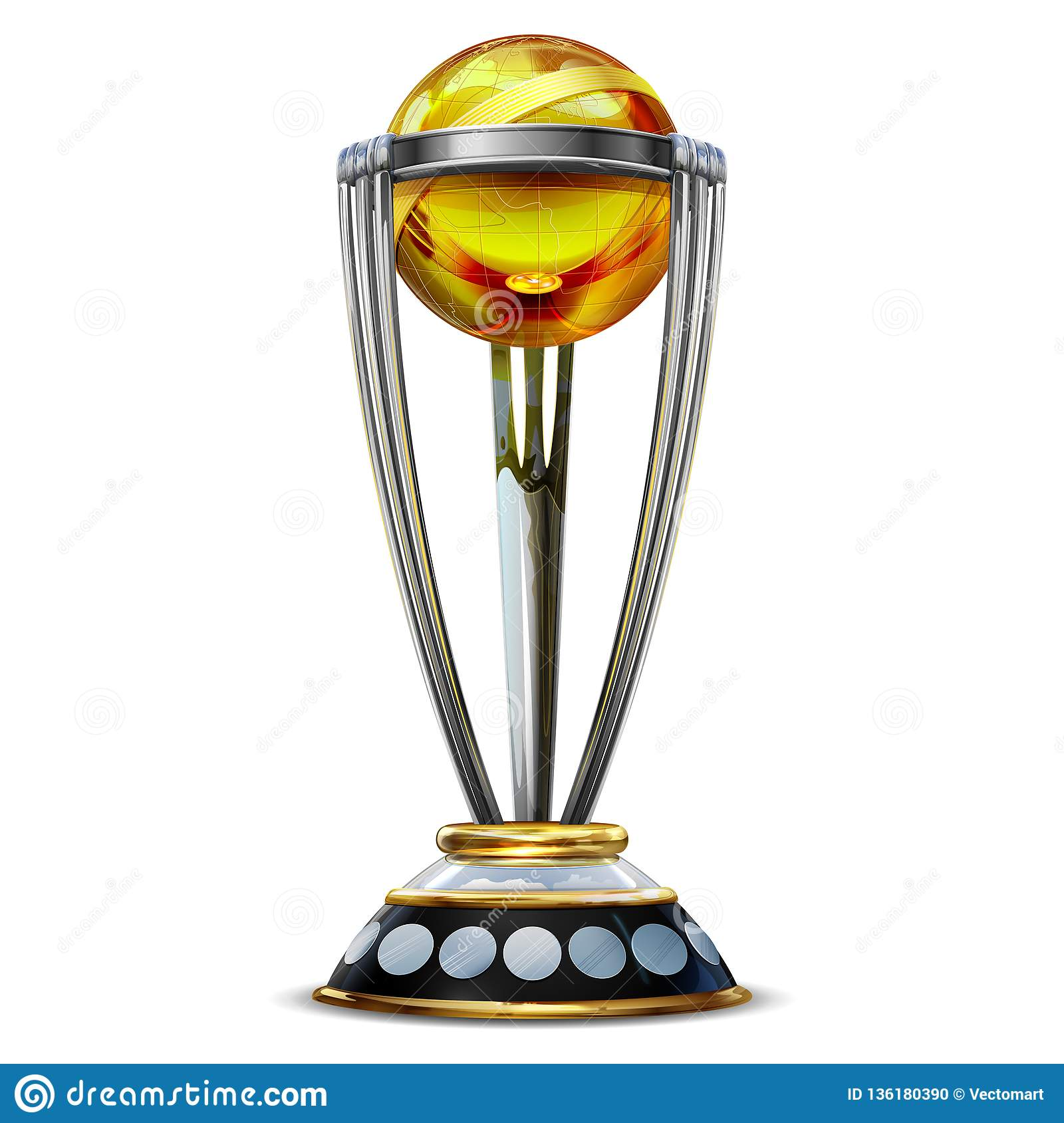 illustration of realistic cricket world cup trophy on plain background