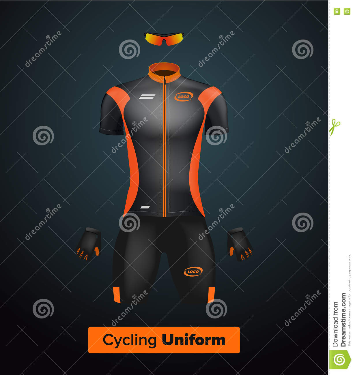 Realistic cycling uniform template. Black and orange. Branding mockup. Bike  or Bicycle clothing 501b371aa