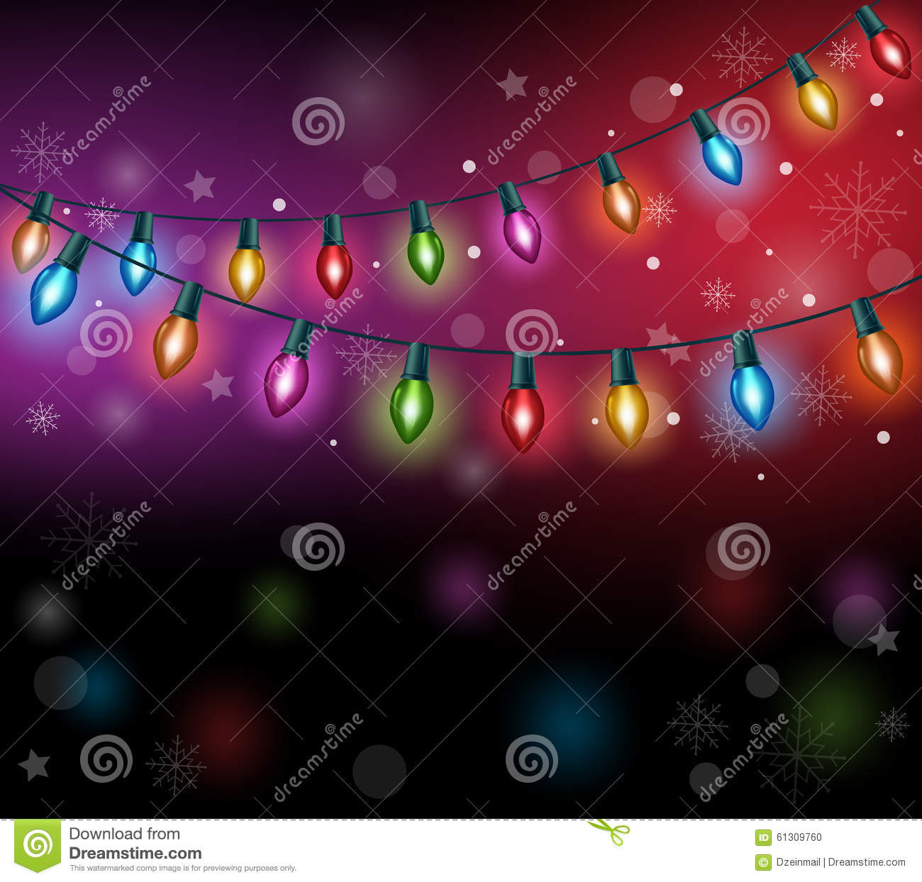 Realistic 3D Colorful Christmas Lights Stock Vector - Illustration ...