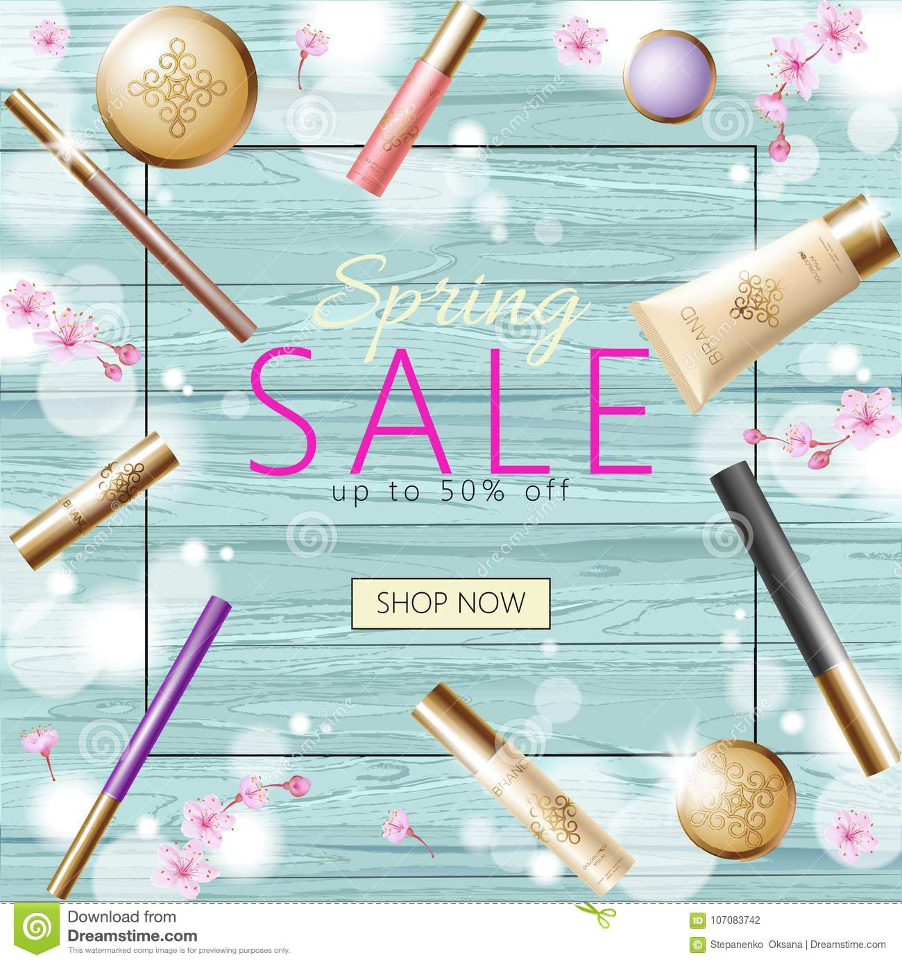 Realistic 3d Cosmetic Spring Sale Banner Template  Square