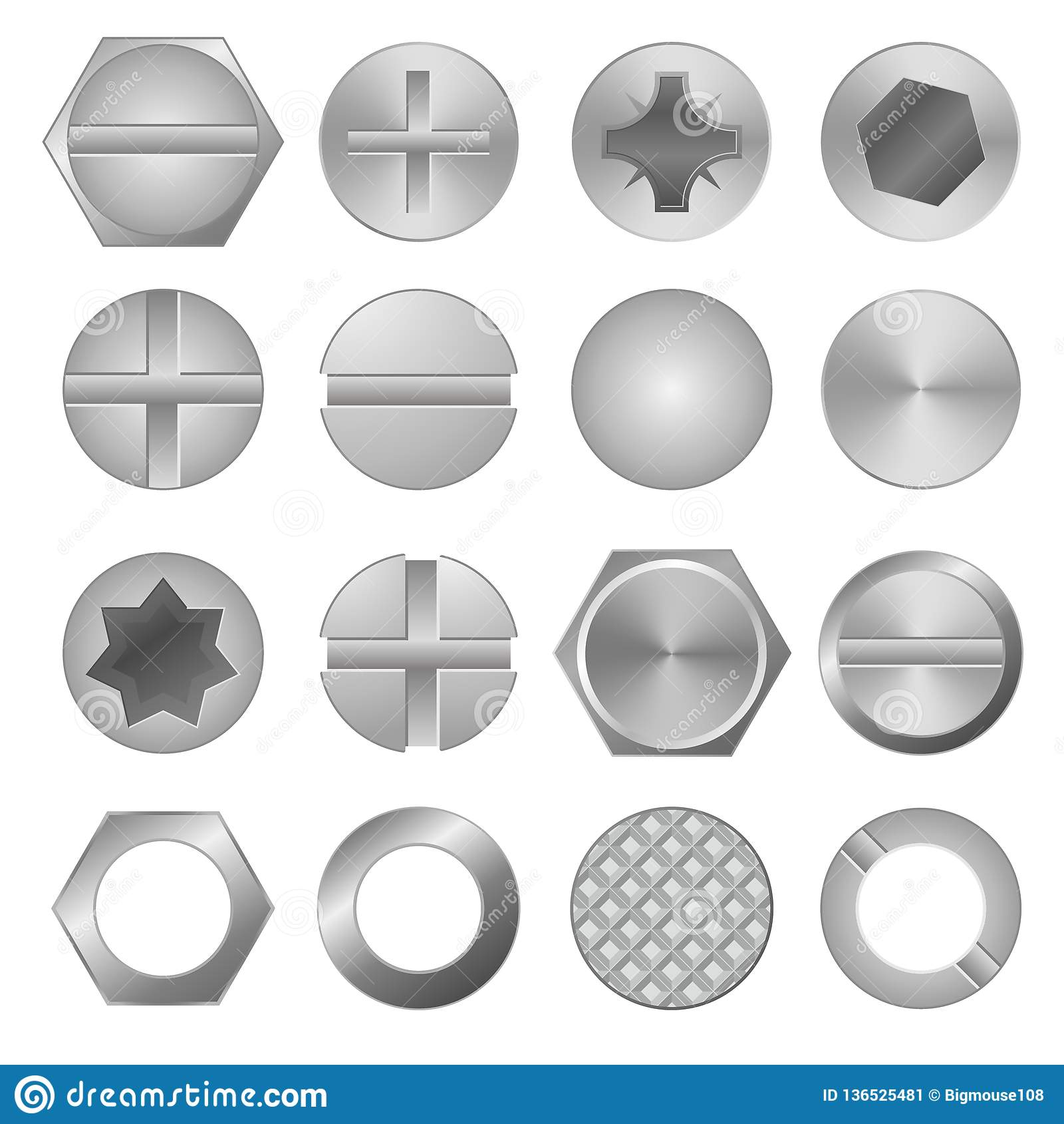Realistic 3d Detailed Metal Screws and Heads Set. Vector